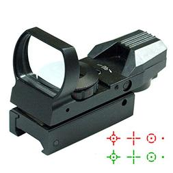 Red and Green Dot Reflex Sight Illumination with 4 Reticles