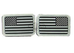 Set of 2  Rubber Glow in the Dark USA Flag Airsoft Patches