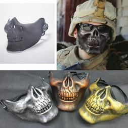Skeleton Half Face Mask Costume Halloween Party Airsoft Skul