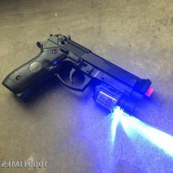 Spring Airsoft Gun Pistol  Black w/ Rail Mounted Laser Flash