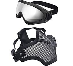XCYT Tactical Airsoft Mask Adjustable Half Face Mask Steel M