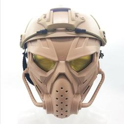 Tactical Airsoft Helmet with Full Face Protective Mask kit f