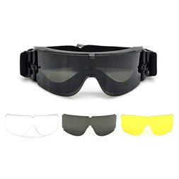 tactical safety airsoft black goggles glasses w/ 3 intercha