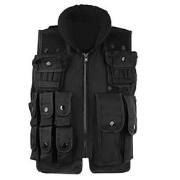 Black Tactical Military Airsoft Paintball Vest Kids Combat T