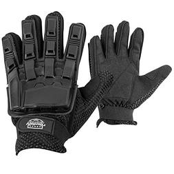 Valken Full Finger Plastic Back Airsoft Gloves, Black, Large